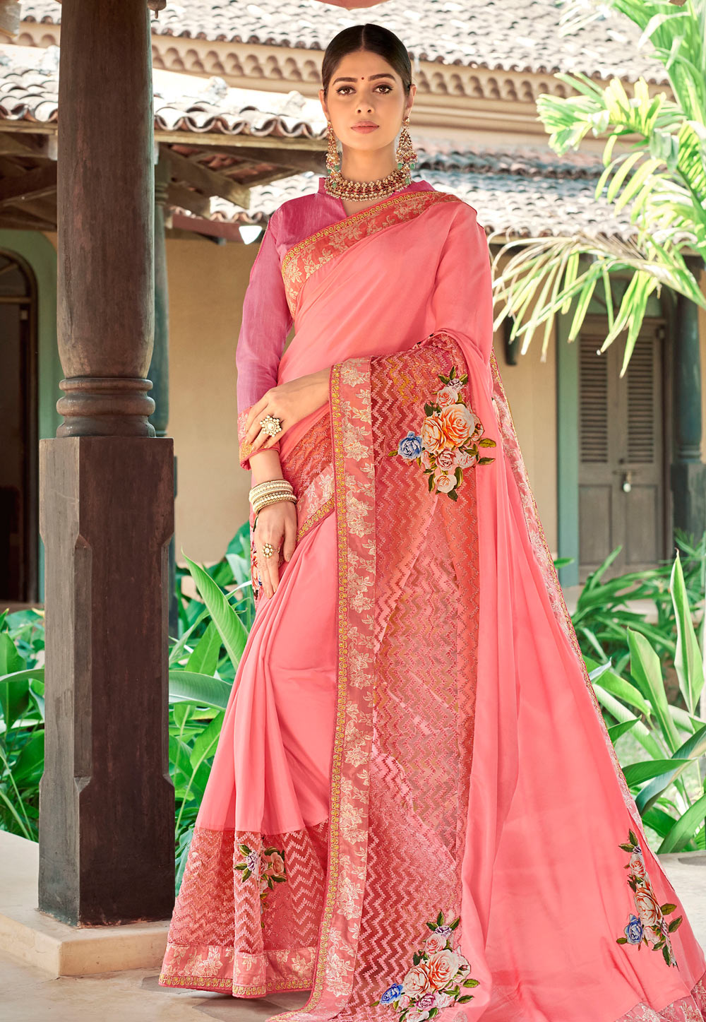 Pink Georgette Festival Wear Saree 184718