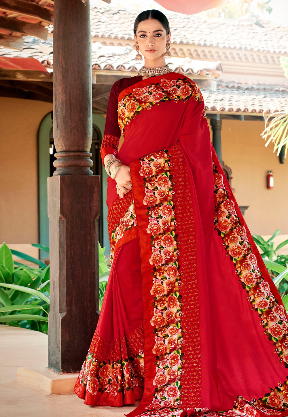 Red Georgette Saree With Blouse 184719