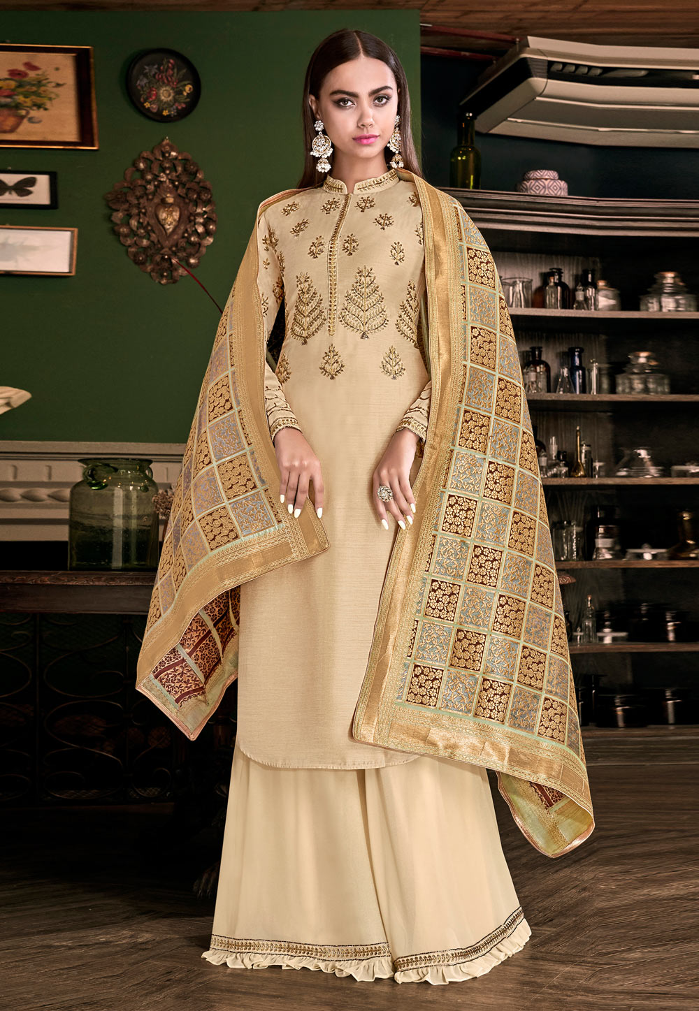 Beige Tussar Embroidered Kameez With Palazzo 186830