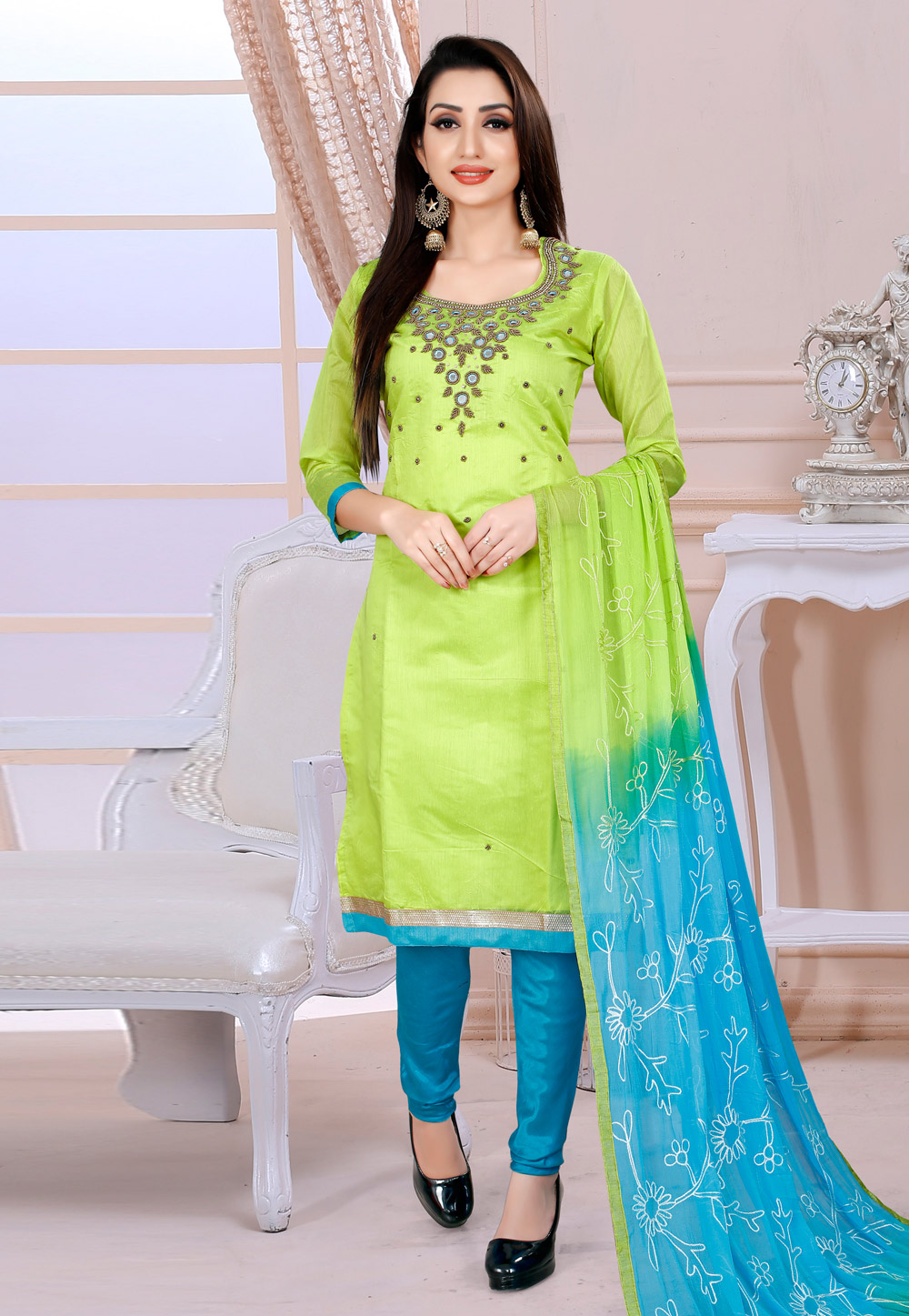 Light Green Chanderi Churidar Salwar Kameez 182636