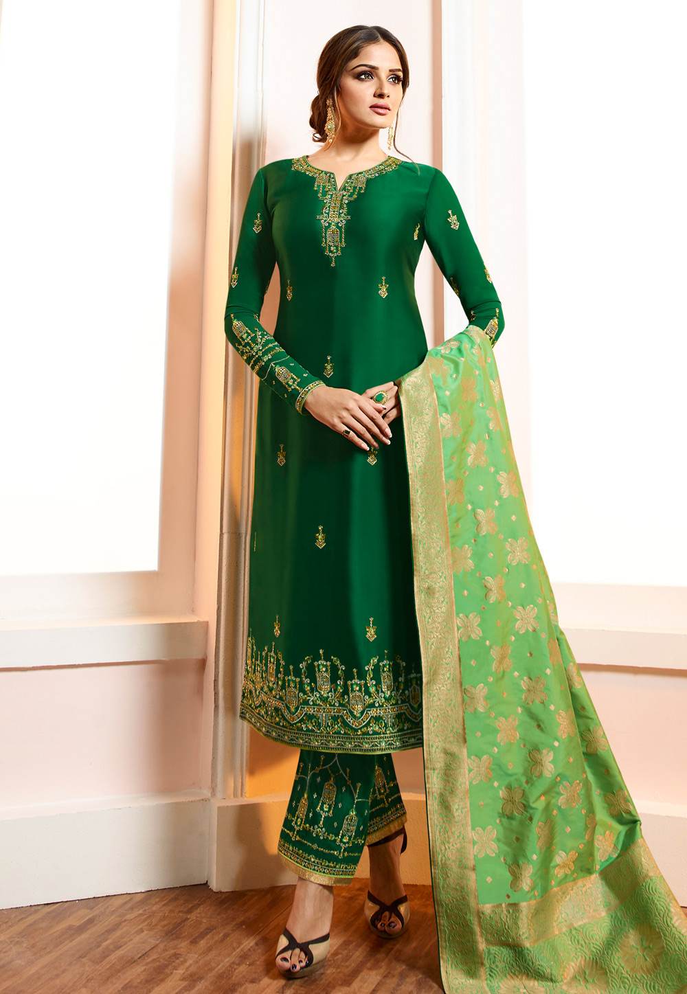 Green Viscose Embroidered Kameez With Pant 169550