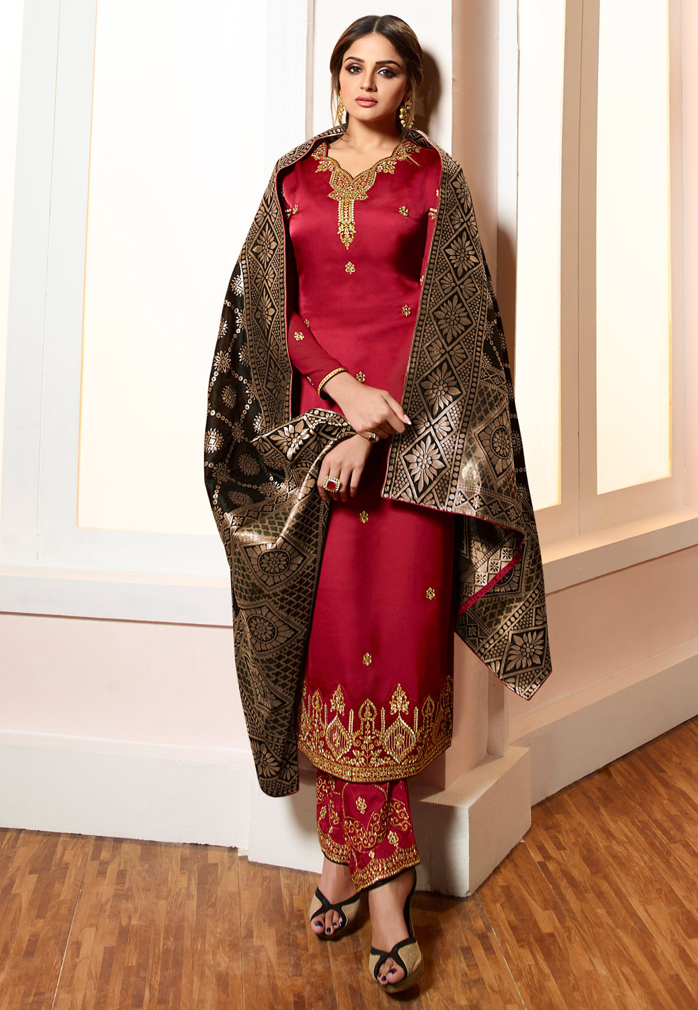 Maroon Viscose Embroidered Pant Style Suit 169551