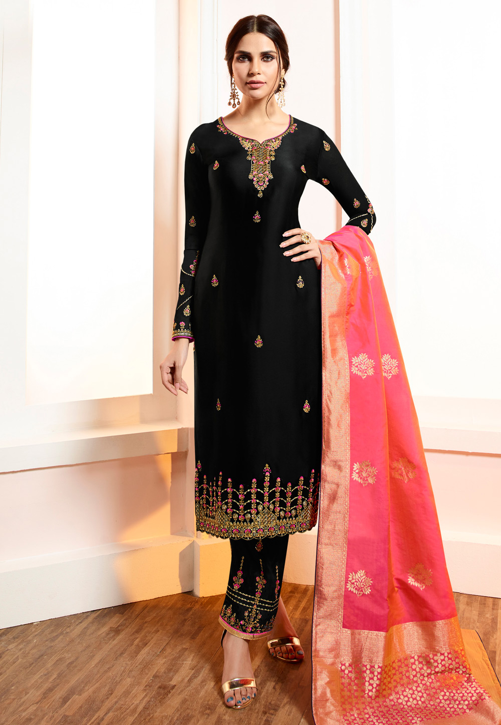 Black Viscose Embroidered Pant Style Suit 169553