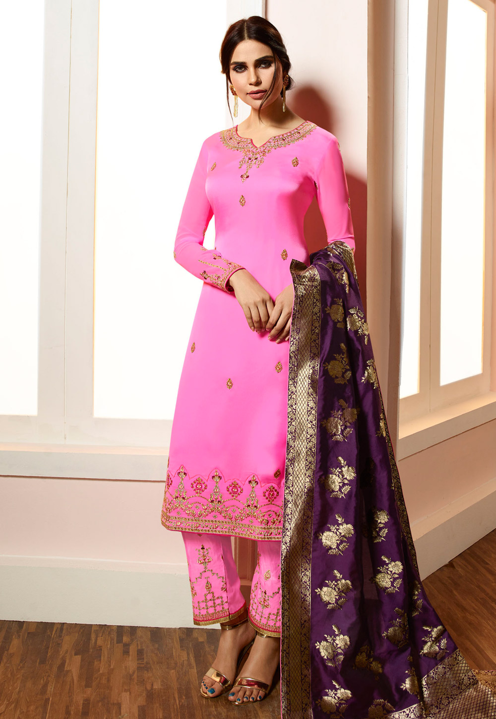 Pink Viscose Embroidered Pant Style Suit 169555