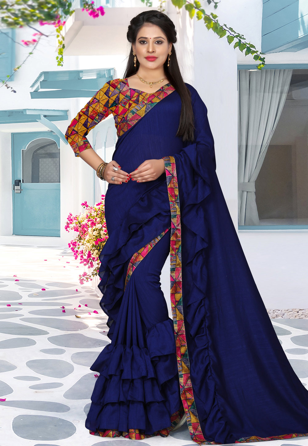 Blue Silk Festival Wear Saree 156789