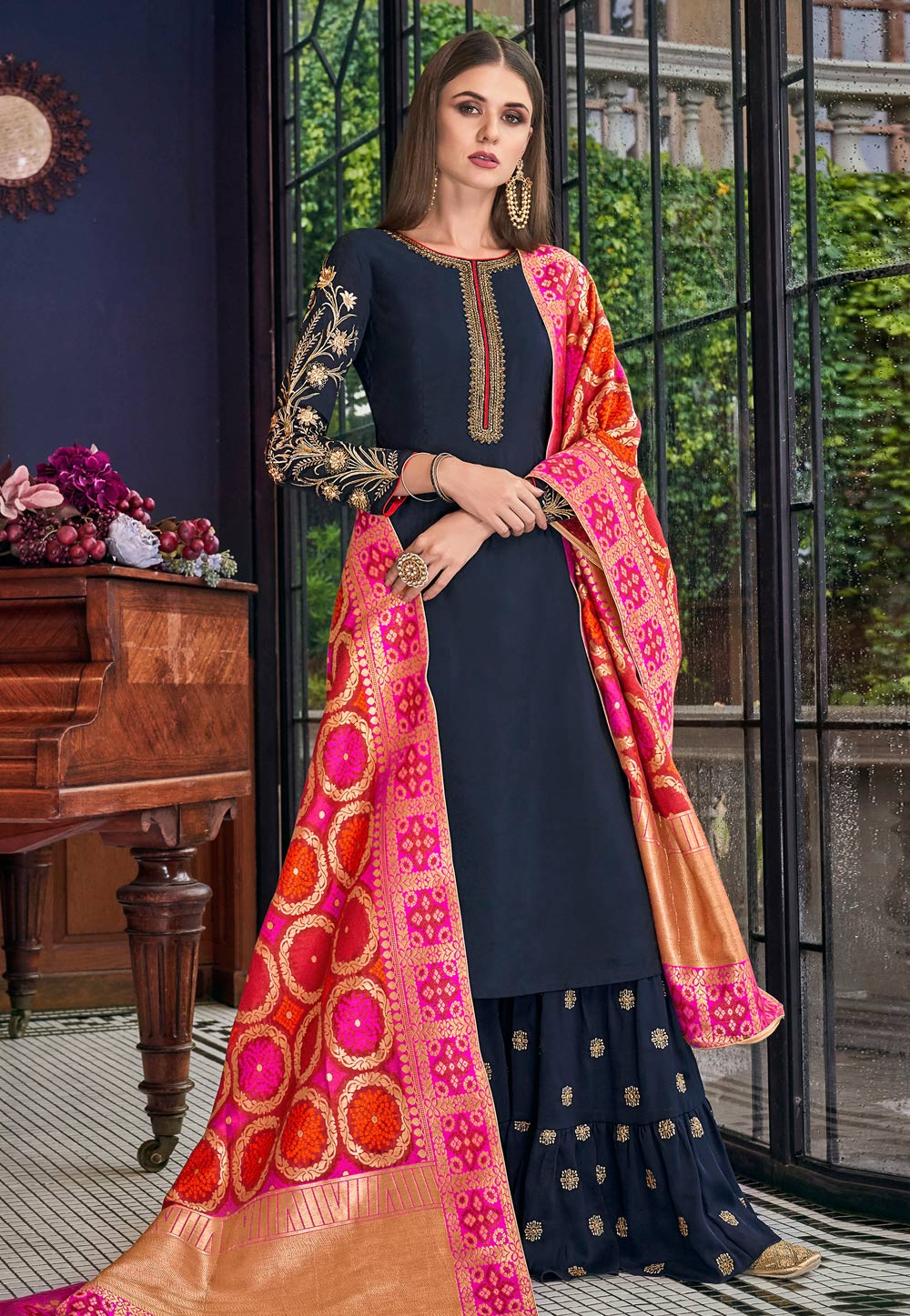 Navy Blue Silk Embroidered Sharara Suit 186832