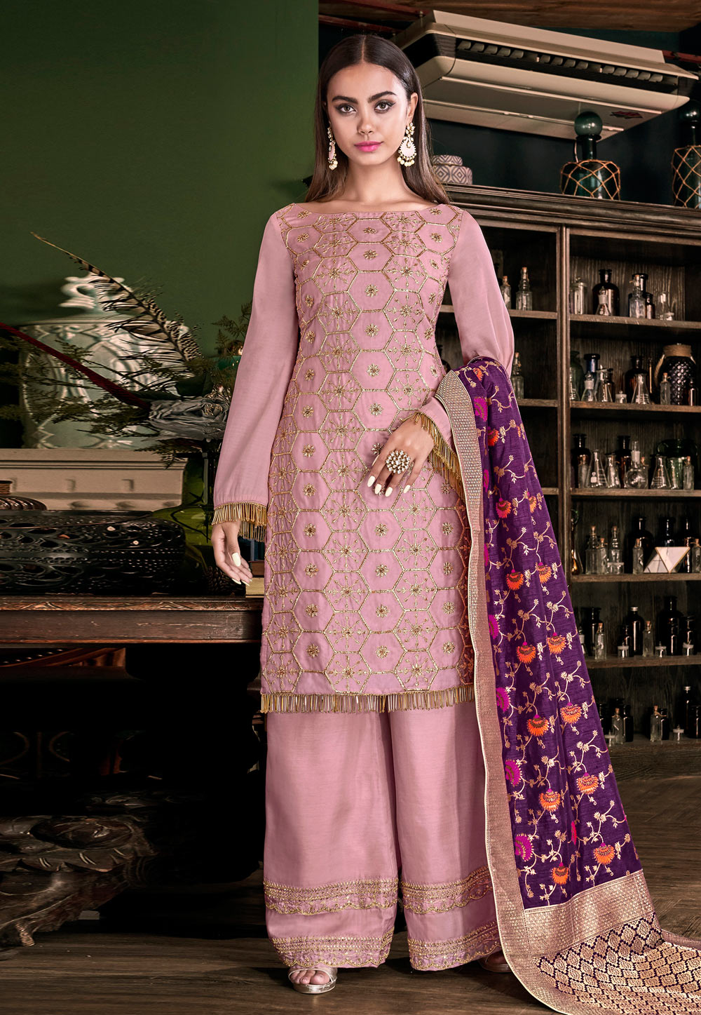 Pink Tussar Embroidered Palazzo Suit 186835