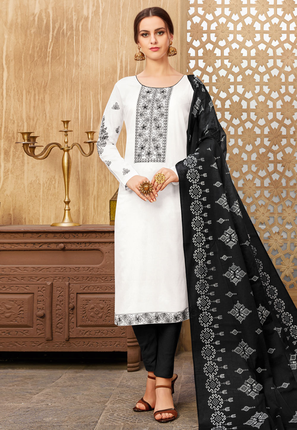 White Silk Kameez With Pant 182630
