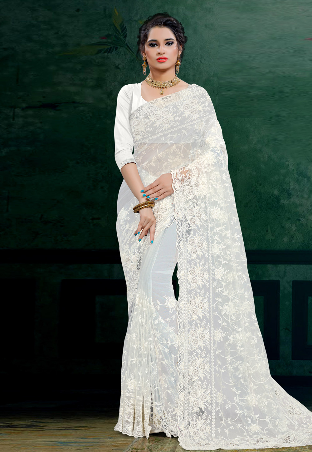 White Net Saree With Blouse 206101
