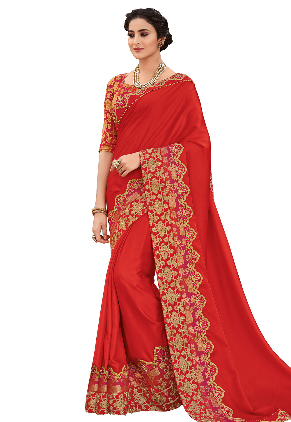 Red Satin Embroidered Saree With Blouse 169229