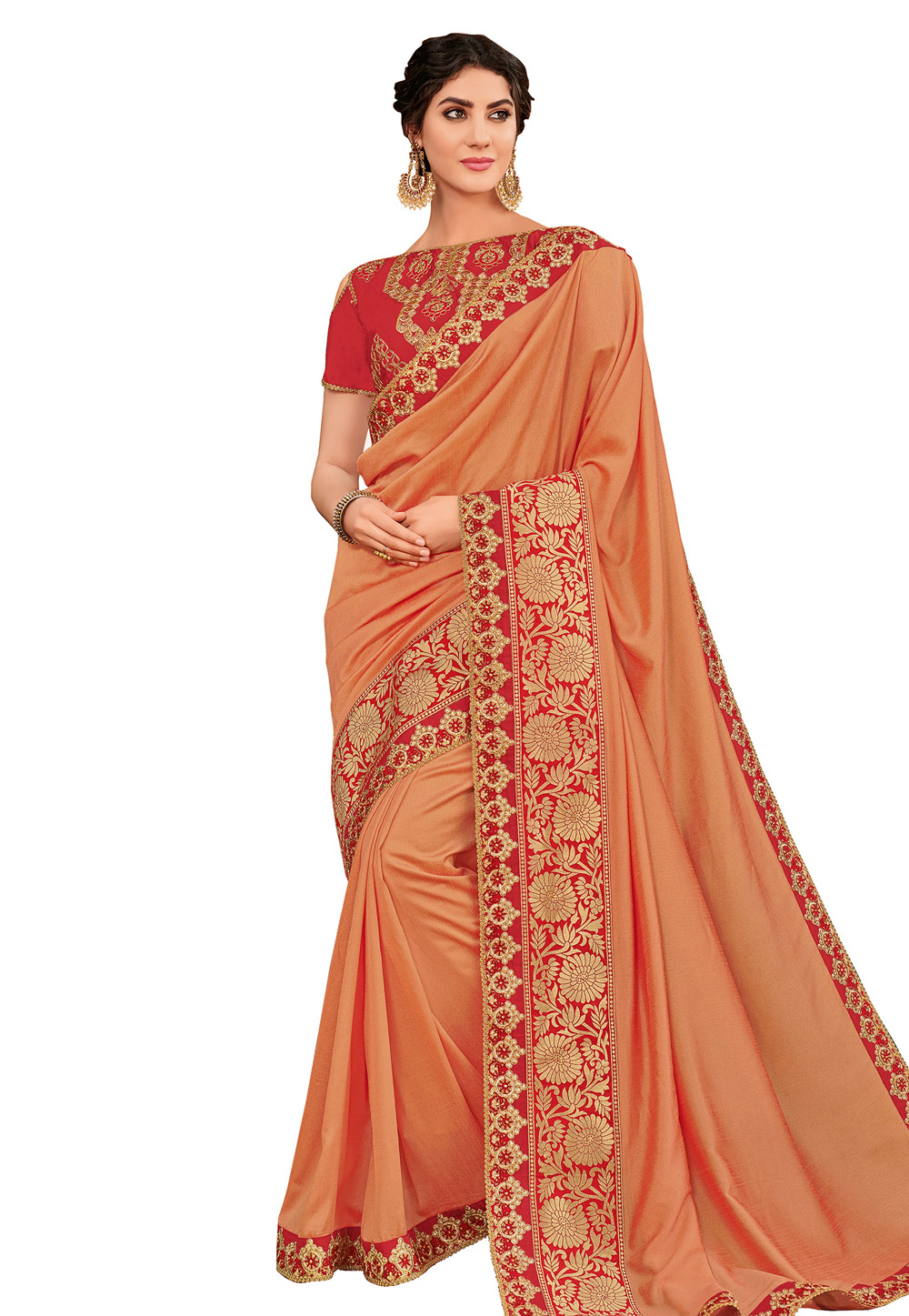 Peach Silk Embroidered Party Wear Saree 169233