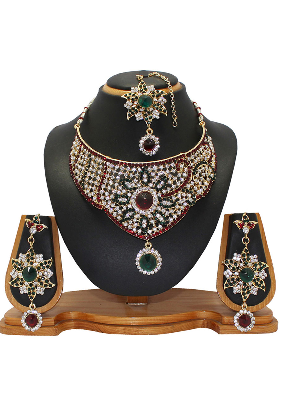 Maroon Zinc Austrian Diamonds Necklace With Earrings and Maang Tikka 64331