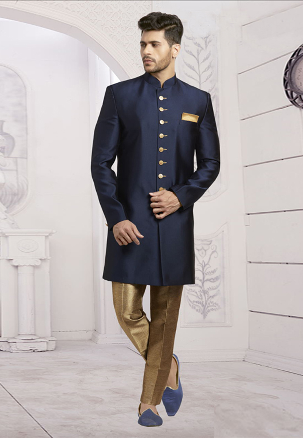 Navy Blue Jacquard Readymade Indo Western Suit 182797