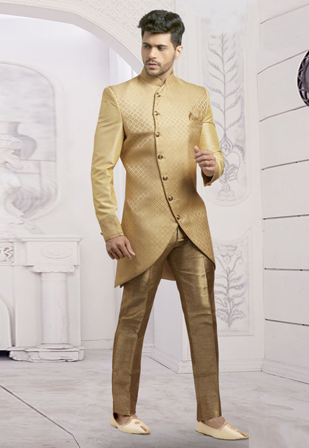 Beige Jacquard Readymade Indo Western Suit 182798