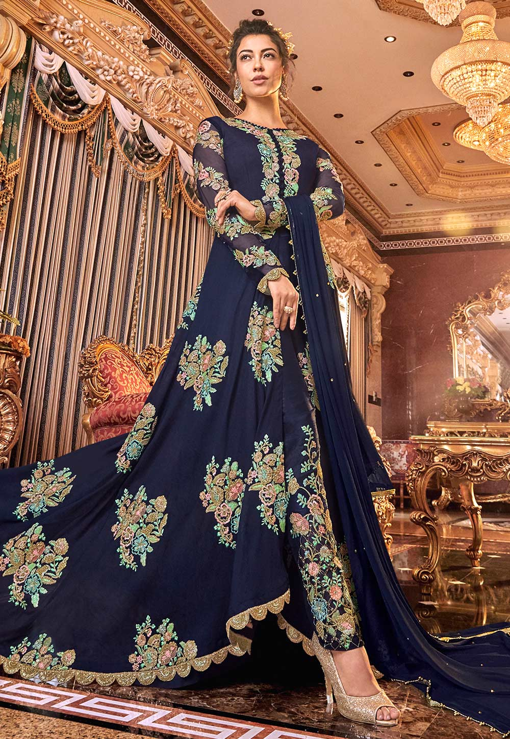 Navy Blue Net Embroidered Pant Style Suit 190005