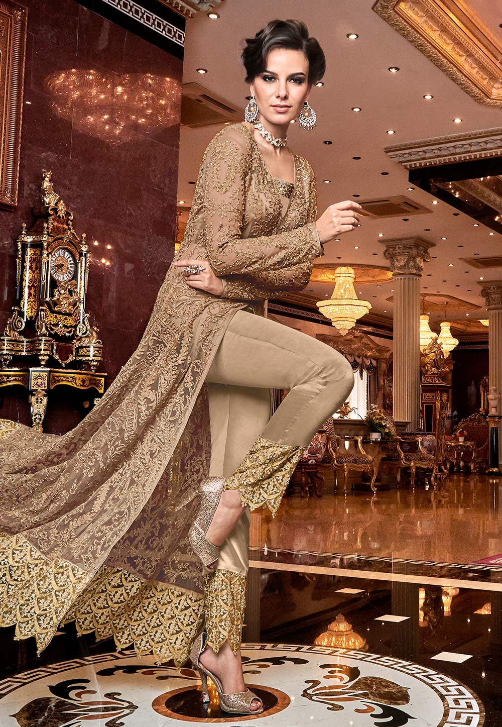 Beige Net Embroidered Pant Style Suit 190010