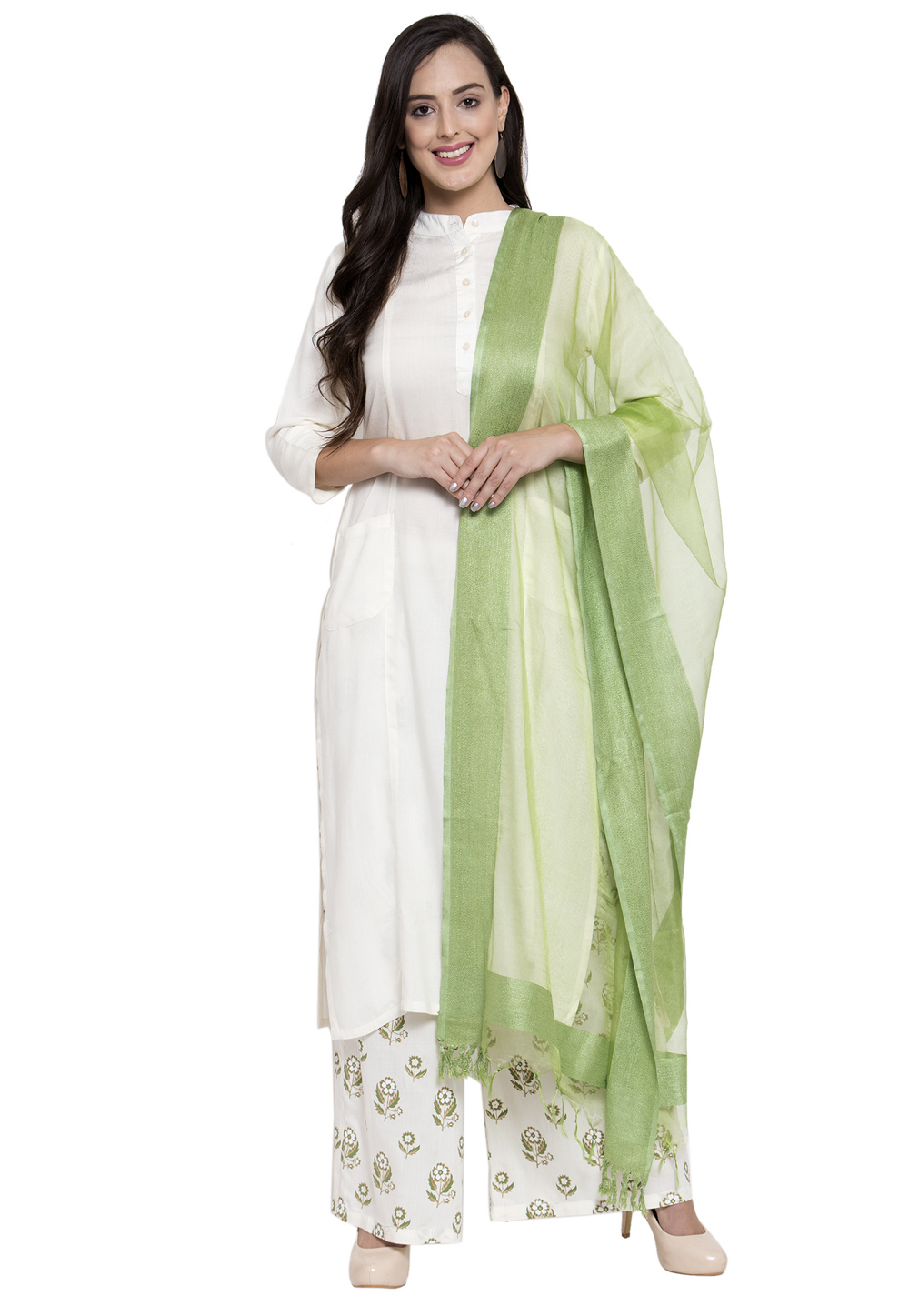 Off White Rayon Readymade Kameez With Palazzo 195007