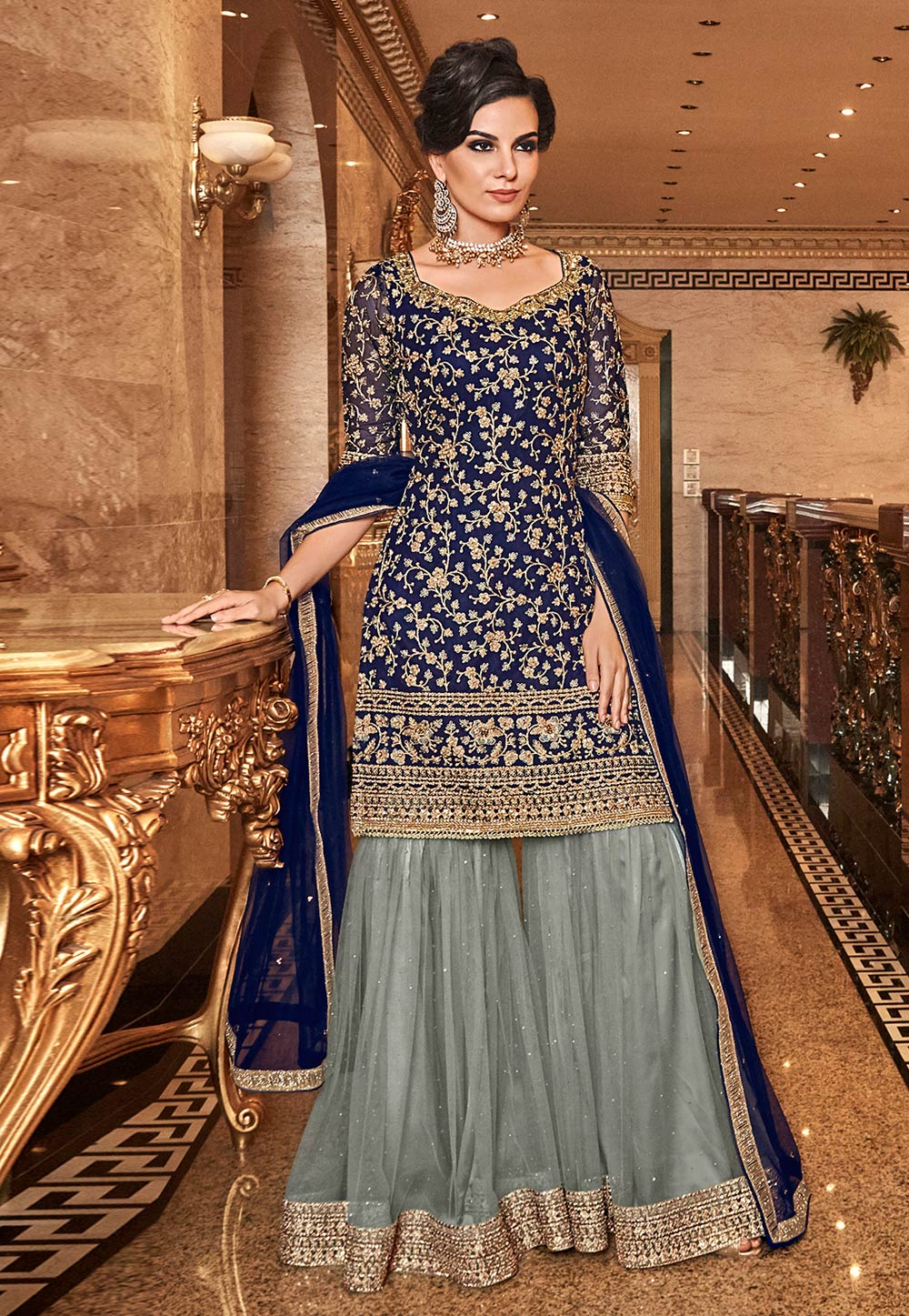 Navy Blue Net Embroidered Sharara Suit 190014