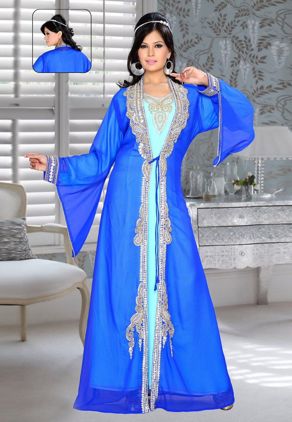 Blue Faux Georgette Embroidered Readymade Kaftan 194332