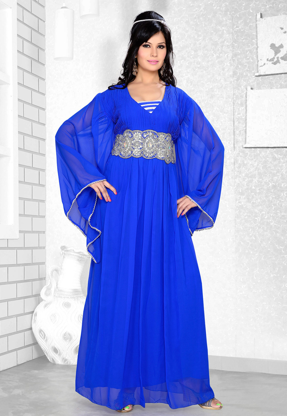 Blue Faux Georgette Embroidered Readymade Farasha 194335