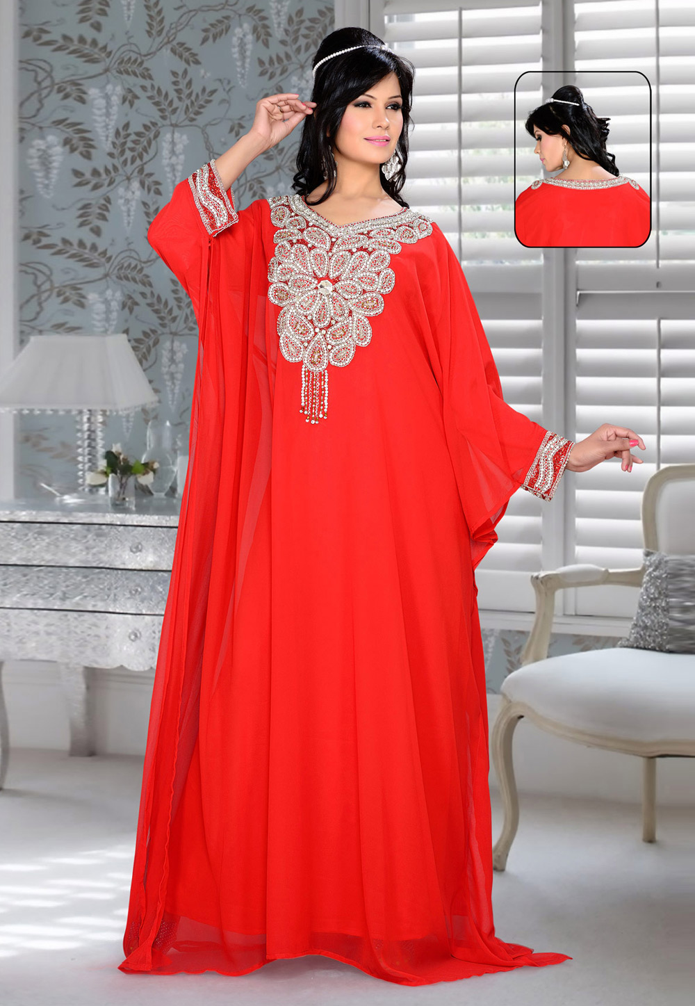 Red Faux Georgette Embroidered Readymade Farasha 194341