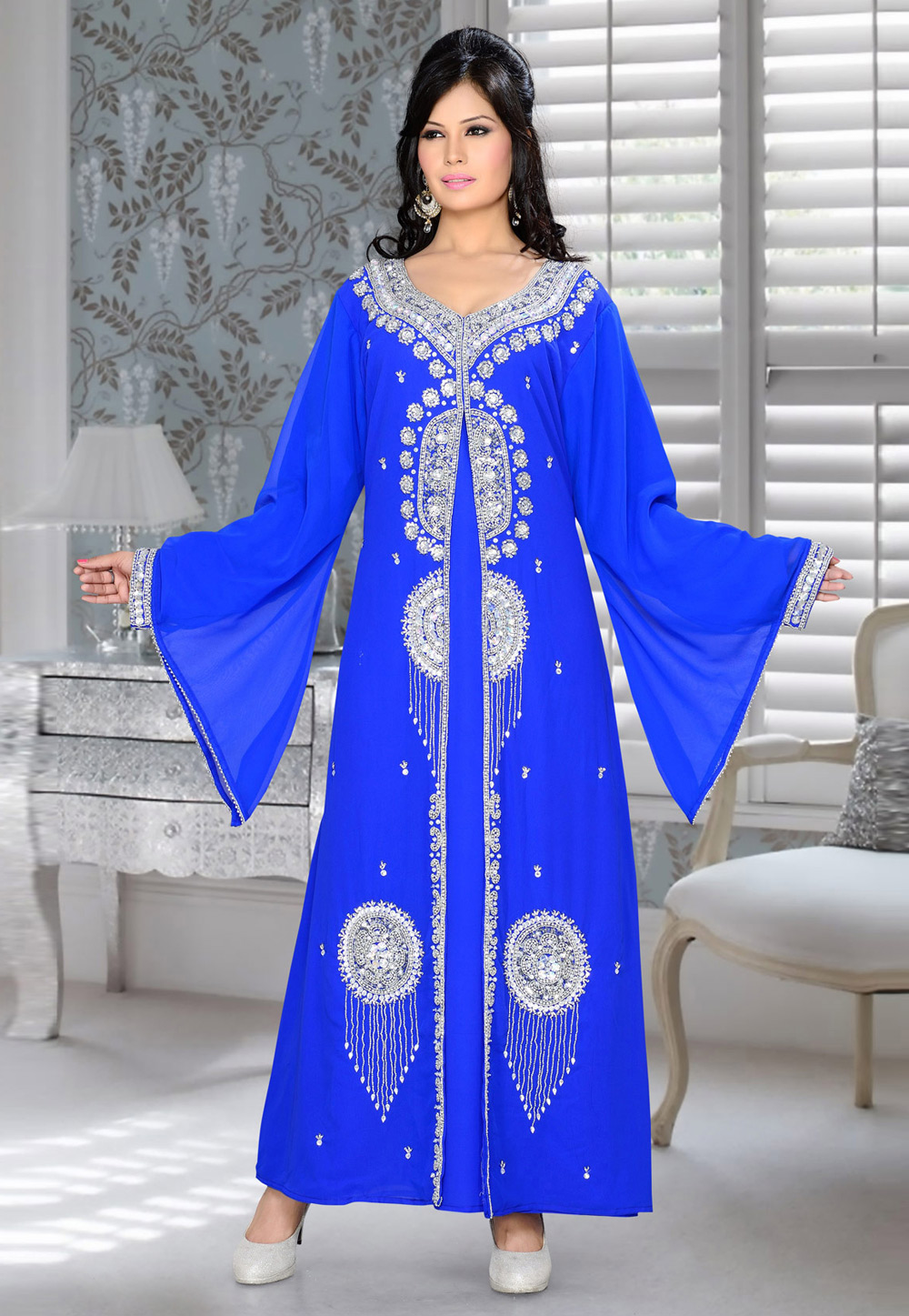 Blue Faux Georgette Embroidered Readymade Kaftan 194344