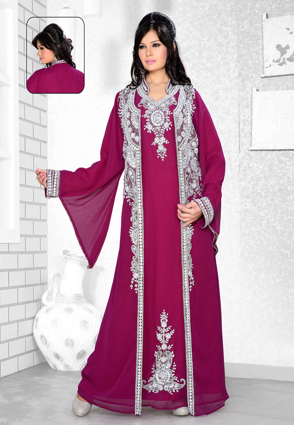Magenta Faux Georgette Embroidered Readymade Kaftan 194345