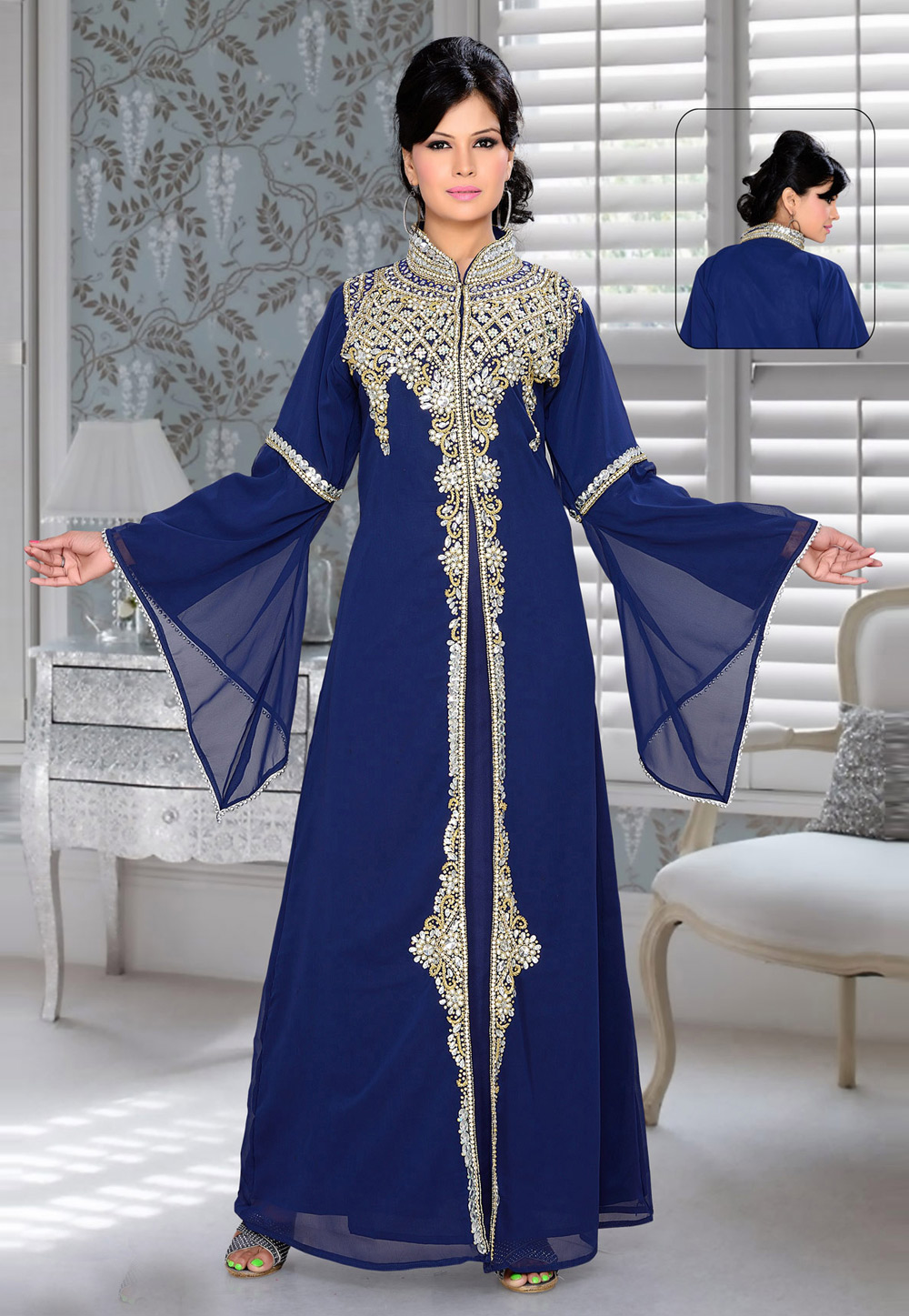 Navy Blue Faux Georgette Embroidered Readymade Kaftan 194346