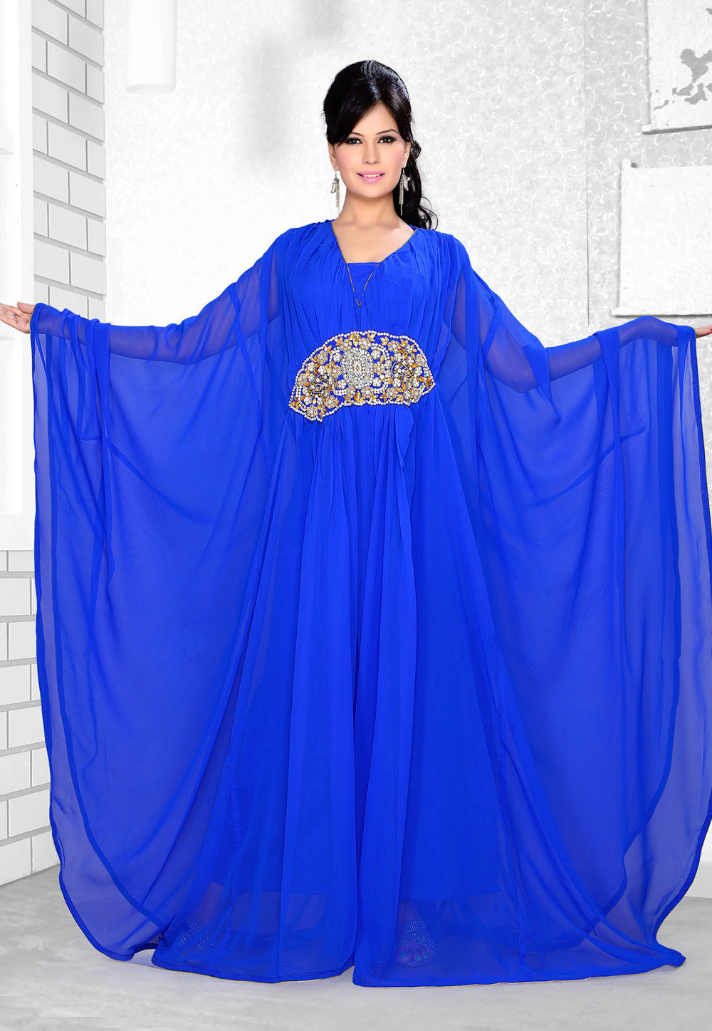Blue Faux Georgette Embroidered Readymade Farasha 194348