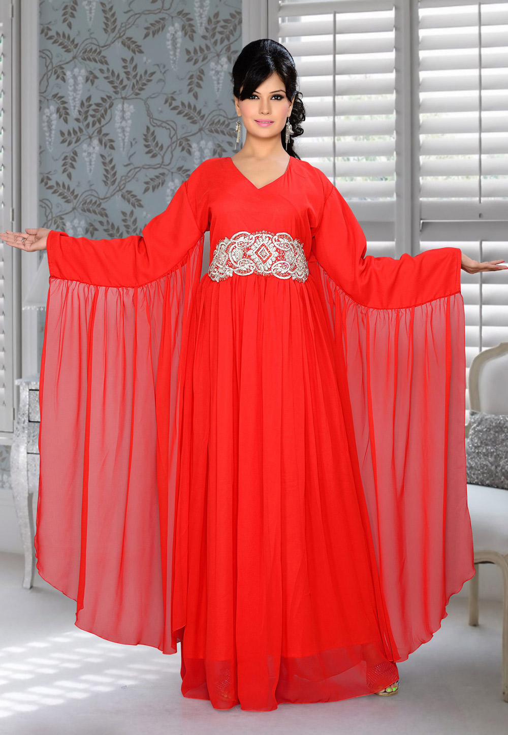 Red Faux Georgette Embroidered Readymade Farasha 194349