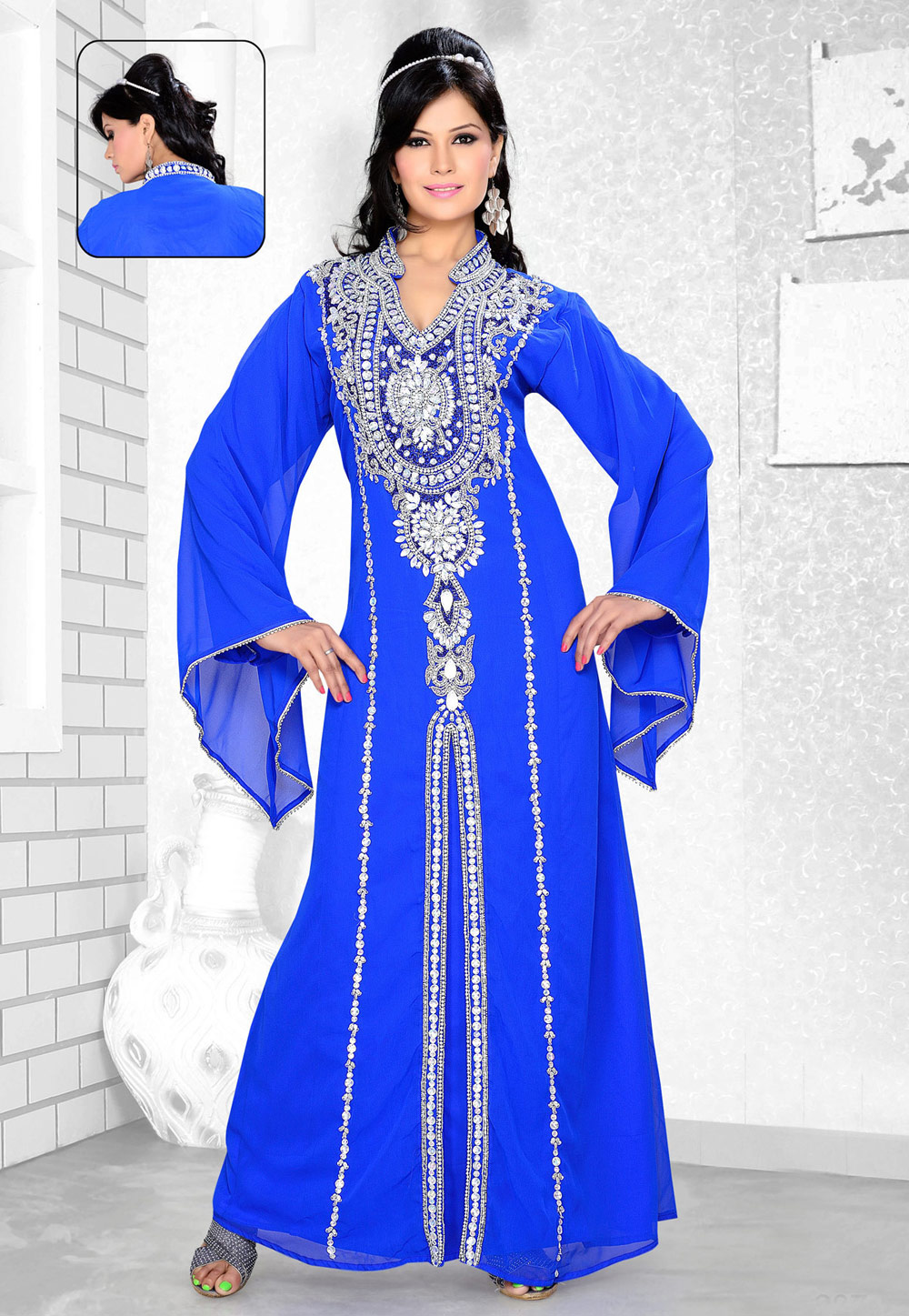 Blue Faux Georgette Embroidered Readymade Kaftan 194352
