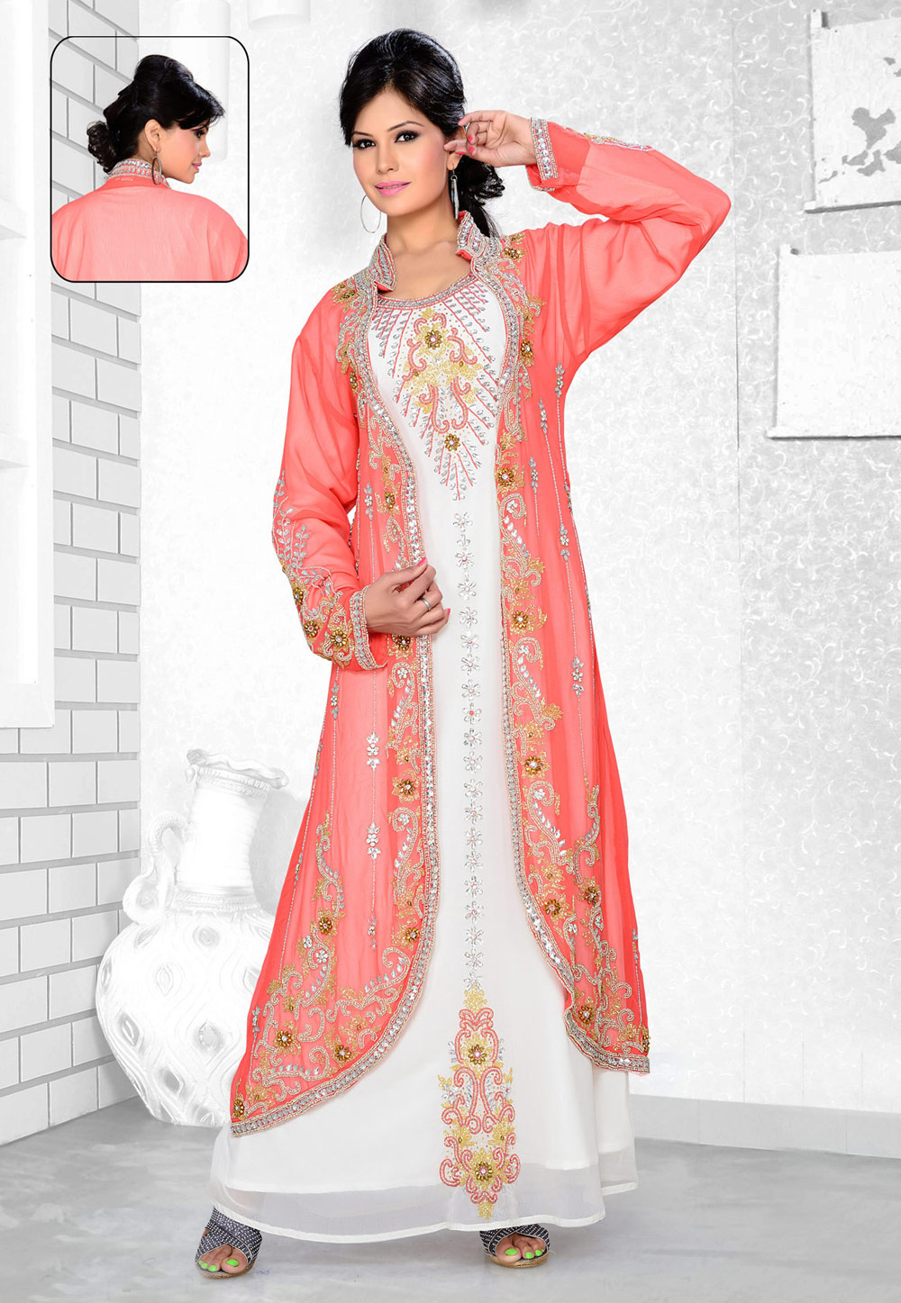 Pink Faux Georgette Embroidered Readymade Kaftan 194353