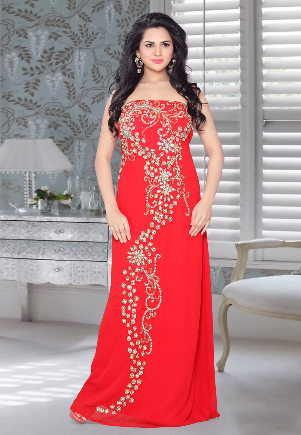 Red Faux Georgette Embroidered Readymade Fustan 194563