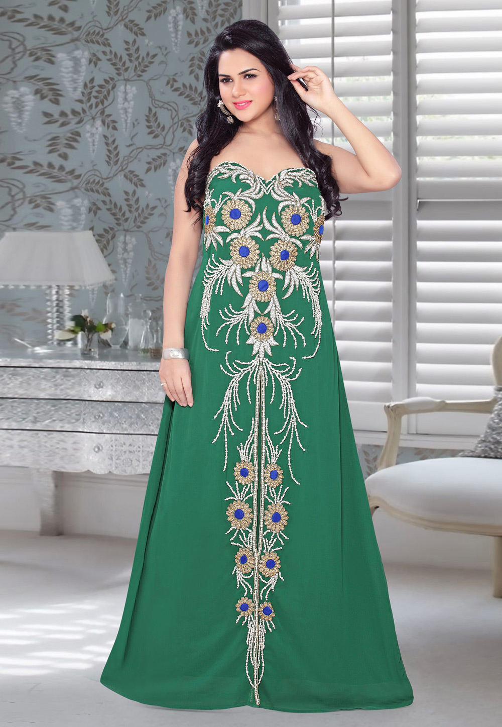 Green Faux Georgette Embroidered Readymade Fustan 194566