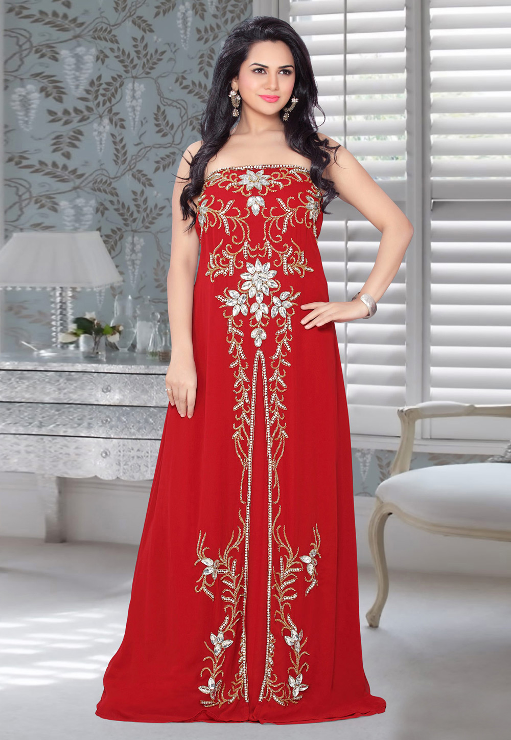 Red Faux Georgette Embroidered Readymade Fustan 194567