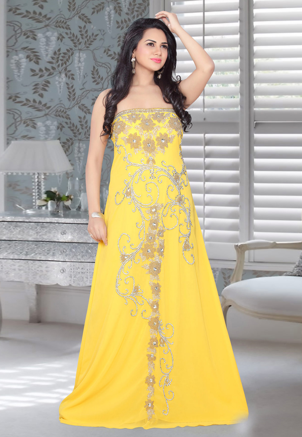 Yellow Faux Georgette Embroidered Readymade Fustan 194568