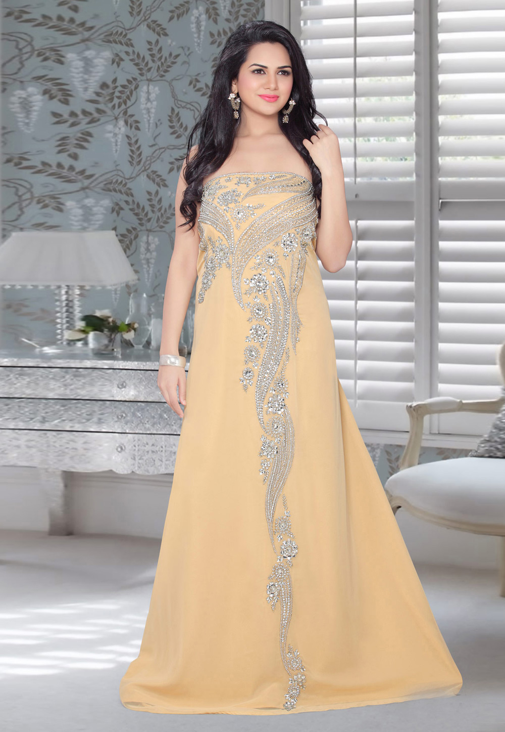 Peach Faux Georgette Embroidered Readymade Fustan 194569