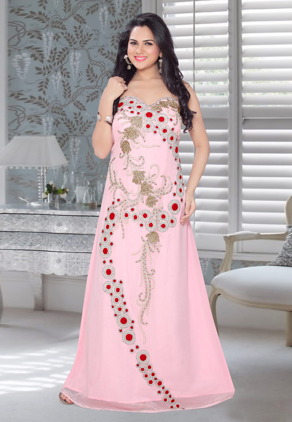 Light Pink Faux Georgette Embroidered Readymade Fustan 194570
