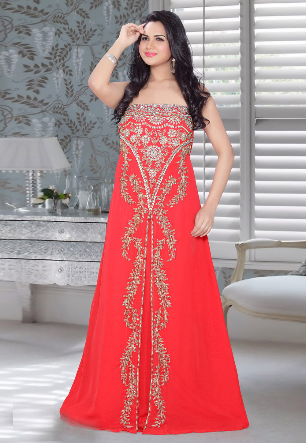 Red Faux Georgette Embroidered Readymade Fustan 194571