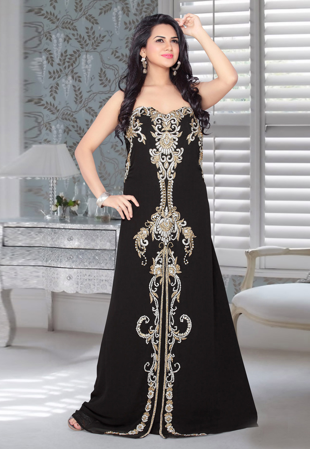 Black Faux Georgette Embroidered Readymade Fustan 194572