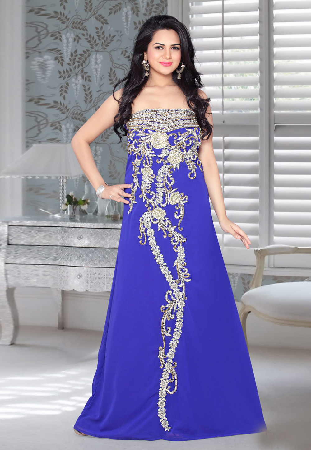 Blue Faux Georgette Embroidered Readymade Fustan 194573