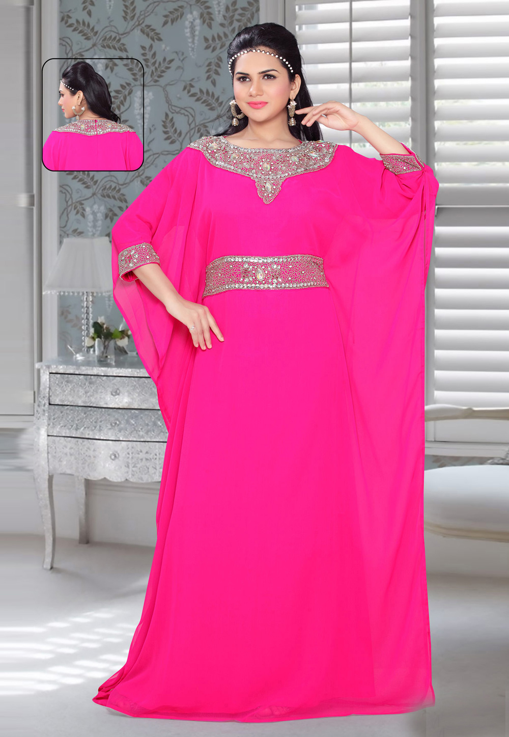 Pink Faux Georgette Embroidered Readymade Farasha 194581