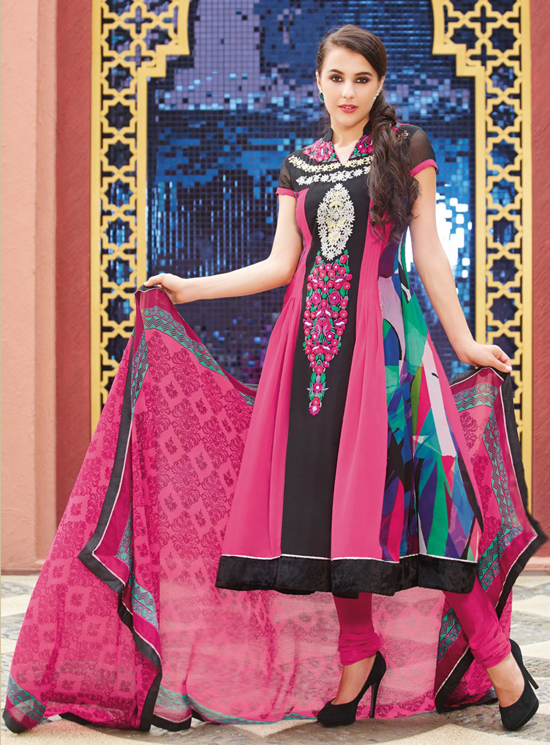 Pink Cotton Long Anarkali Suit 92970