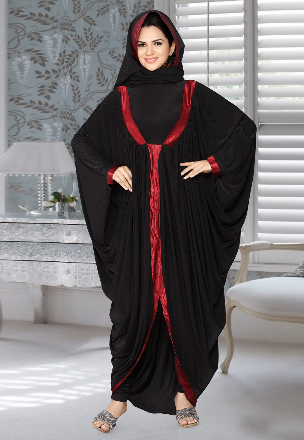 Black Lycra Embroidered Readymade Draped Style Abaya 194587