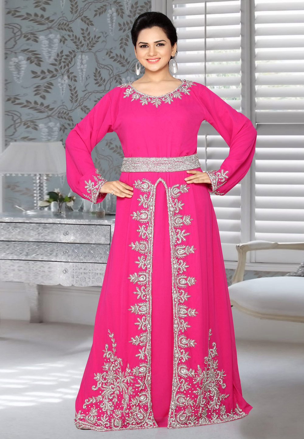Pink Faux Georgette Embroidered Readymade Kaftan 194589