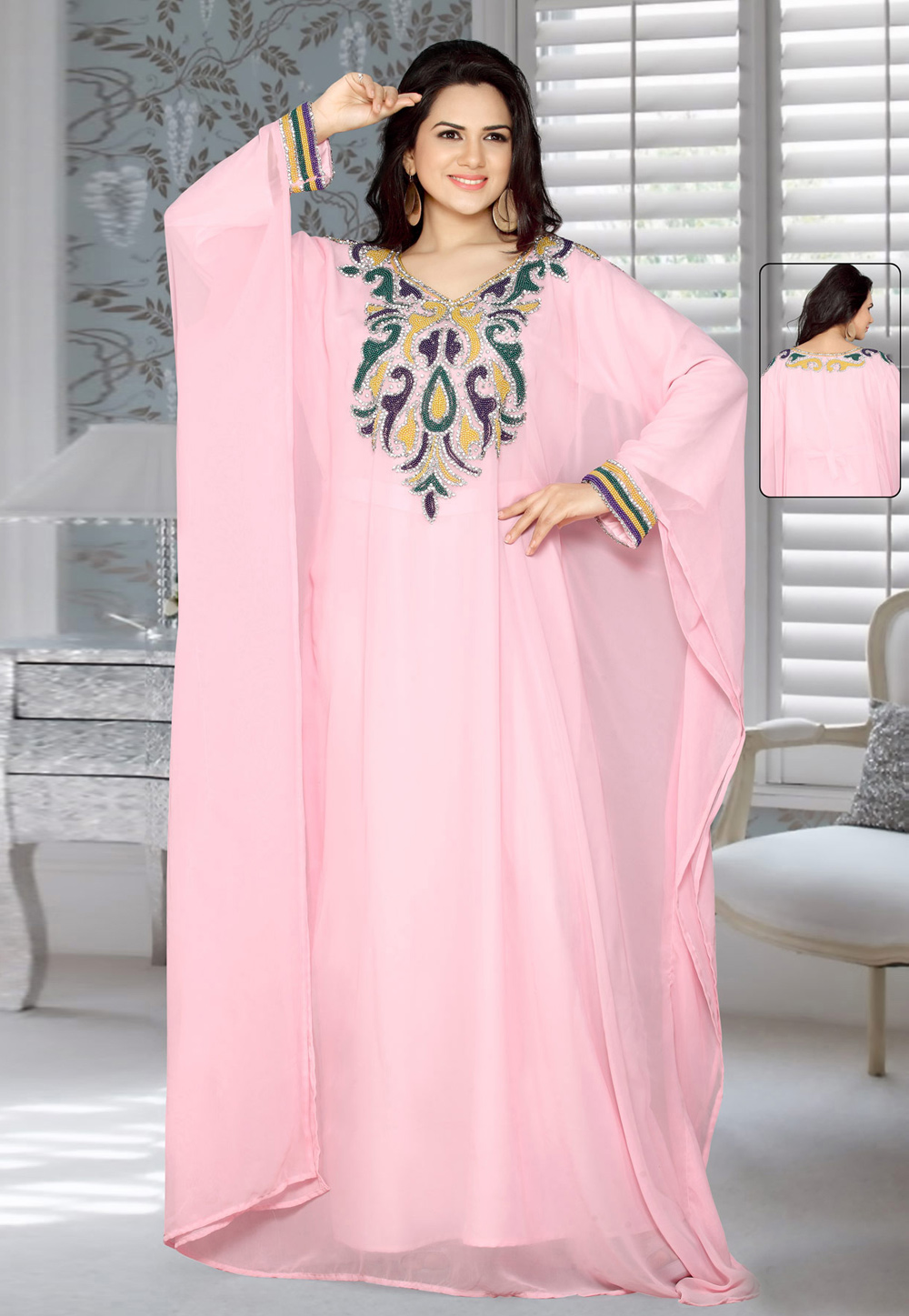 Light Pink Faux Georgette Embroidered Readymade Farasha 194595