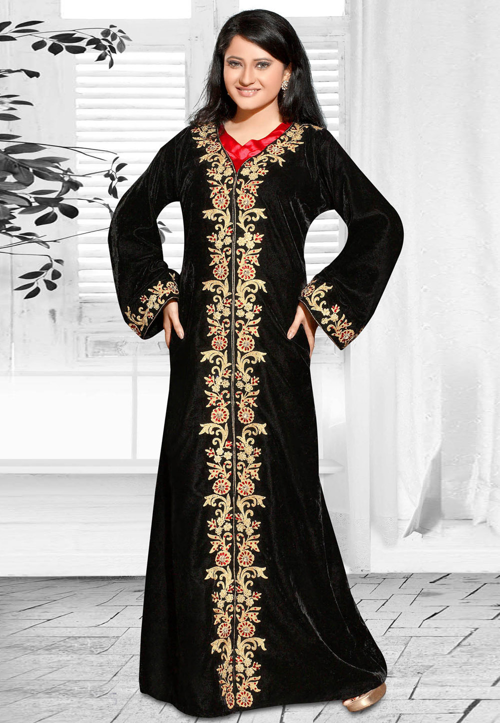 Black Faux Georgette Embroidered Readymade Kaftan 194597