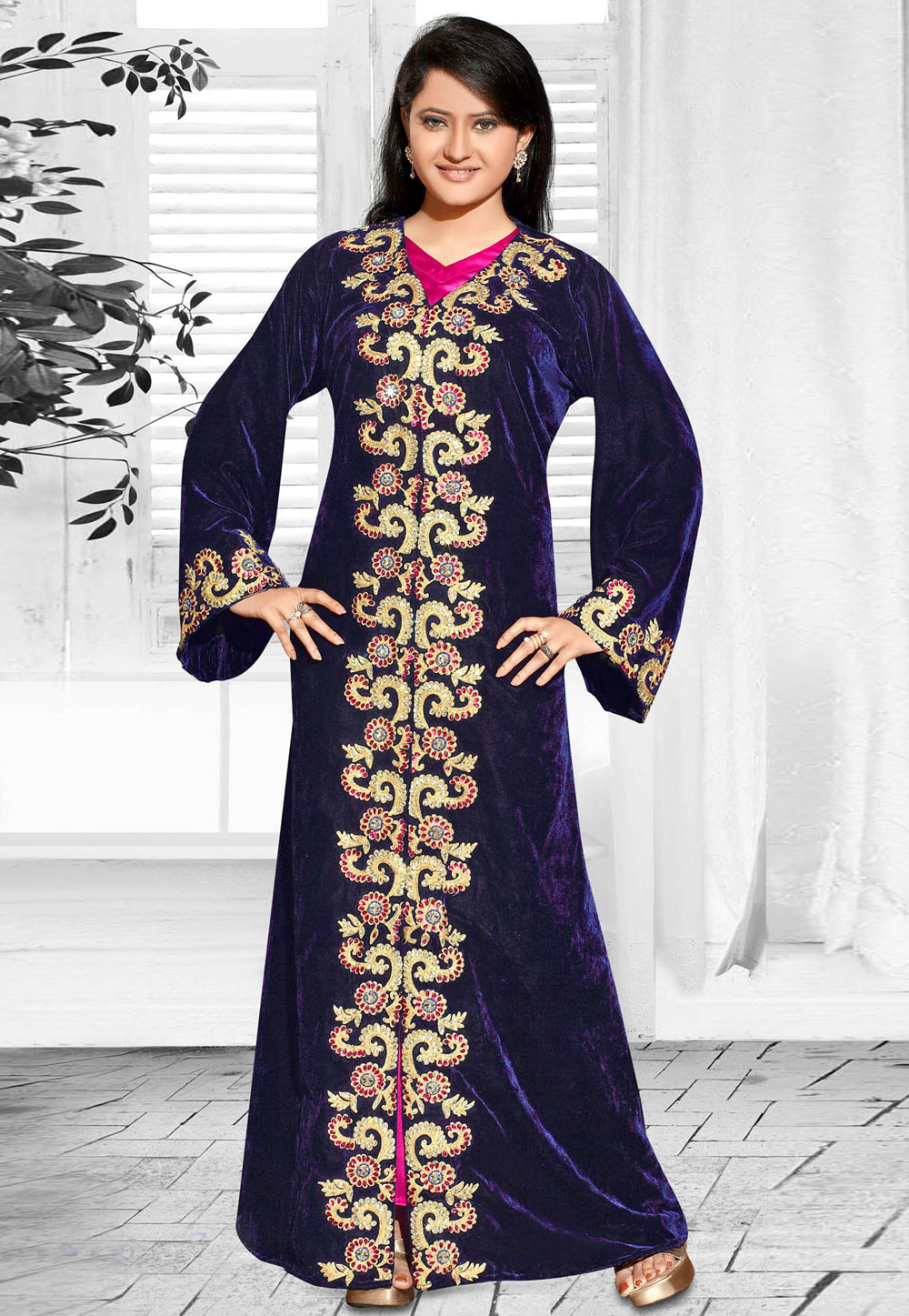 Blue Faux Georgette Embroidered Readymade Kaftan 194598