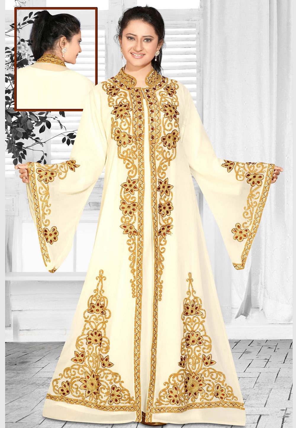 Cream Faux Georgette Embroidered Readymade Kaftan 194601