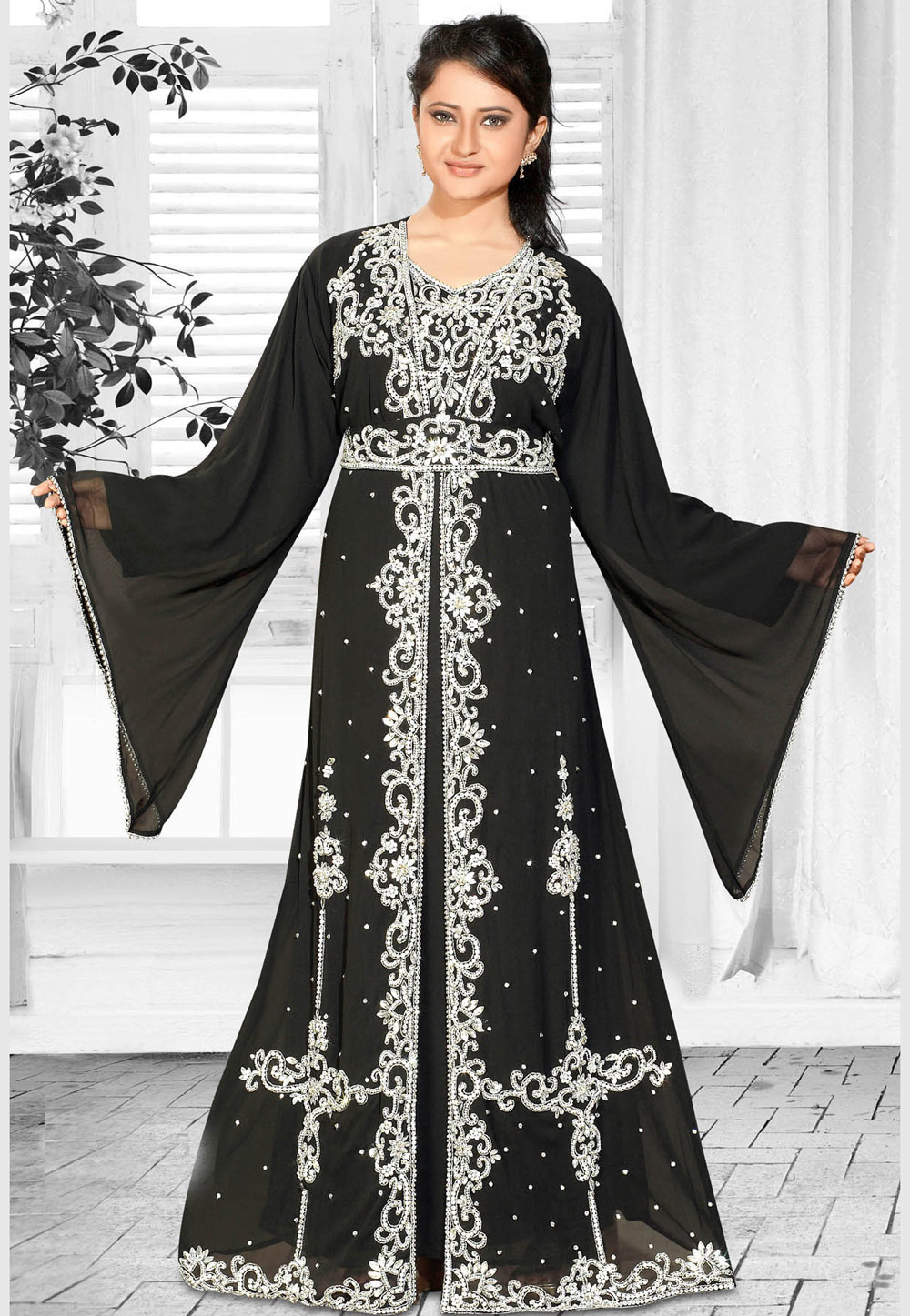Black Faux Georgette Embroidered Readymade Kaftan 194605